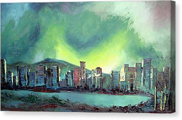 Vancouver At Night Canvas Print - Vancouver Night by Martin Ruygrok