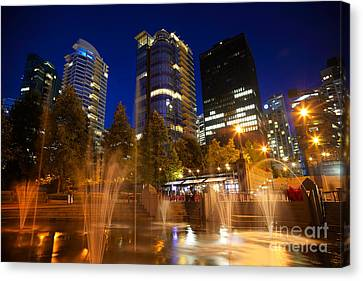 Vancouver At Night Canvas Print - Vancouver Night Time by Terry Elniski
