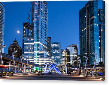 Vancouver At Night Canvas Print - Vancouver Olympic Cauldron - By Sabine Edrissi by Sabine Edrissi