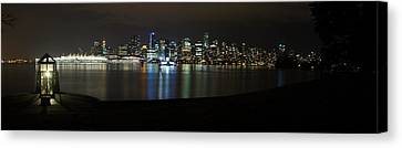 Vancouver At Night Canvas Print - Vancouver Panorama At Night by Jeremy Oberg