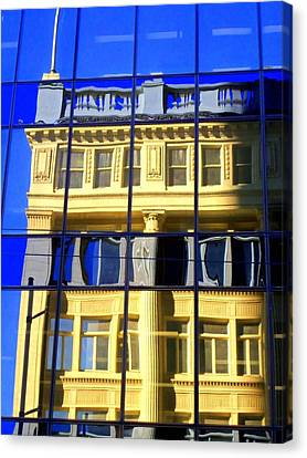 Glass Wall Canvas Print - Vancouver Reflections 2 by Randall Weidner