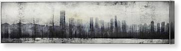 Vancouver Skyline Abstract 1 Canvas Print by Peter v Quenter