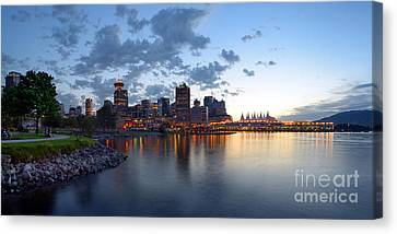 Vancouver Skyline From Crab Park At Portside Canvas Print by Terry Elniski