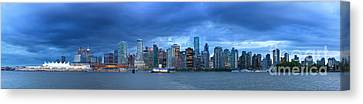 Vancouver Skyline Panoramic At Night Canvas Print