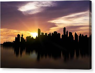 British Columbia Canvas Print - Vancouver Sunset Skyline  by Aged Pixel