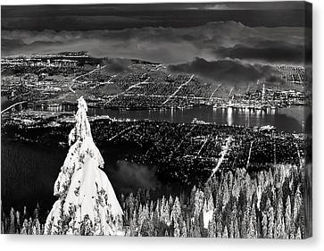 Vancouver Winter Cityscape Canvas Print by Pierre Leclerc Photography
