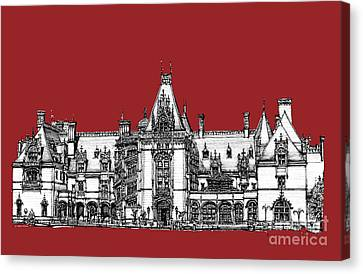 Vanderbilt's Biltmore Estate In Red Canvas Print by Adendorff Design