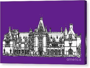 Vanderbilt's Biltmore In Purple Canvas Print by Adendorff Design