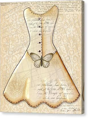 Dressing Room Canvas Print - Vanilla Dress by Elaine Jackson