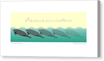 Vanishing Manatees - Preserve Our Waters Poster Canvas Print by Kathi Shotwell