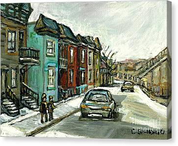 Vanishing Montreal Historical Paintings May Street Verdun Champlain Bridge Celebrate Montreal 375  Canvas Print by Carole Spandau