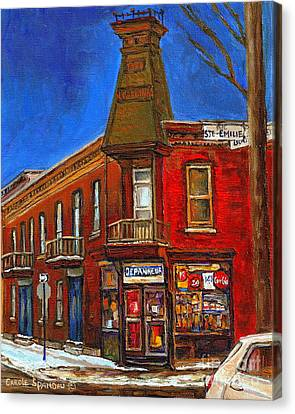 Vanishing Montreal Landmark Depanneur Ste. Emilie And Bourget Montreal Painting By Carole Spandau  Canvas Print by Carole Spandau