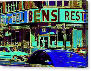 Vanishing Montreal Memories Ben's Historical Restaurant Window So Many Stories To Tell Canvas Print by Carole Spandau