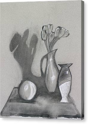 Canvas Print featuring the mixed media Vanishing Vase by Artists With Autism Inc