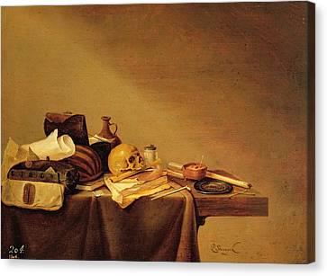 Vanitas Or, Emblem Of Death Oil On Canvas Canvas Print by Pieter van Steenwyck