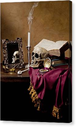 Canvas Print featuring the photograph Vanitas - Skull-mirror-books And Candlestick by Levin Rodriguez