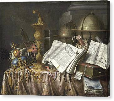 Vanitas Still Life, Edwaert Collier Canvas Print by Litz Collection