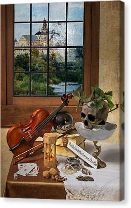 Vanitas With Music Instruments And Window Canvas Print by Levin Rodriguez