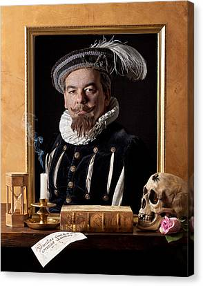 Vanitas With Painting-skull-hourglass Canvas Print by Levin Rodriguez