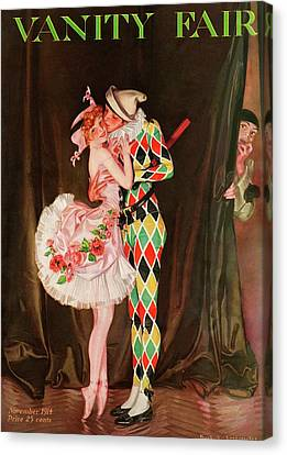 Curtain Canvas Print - Vanity Fair Cover Featuring A Harlequin by Frank X. Leyendecker