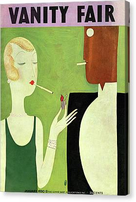 Choker Canvas Print - Vanity Fair Cover Featuring A Man And Woman by Eduardo Garcia Benito