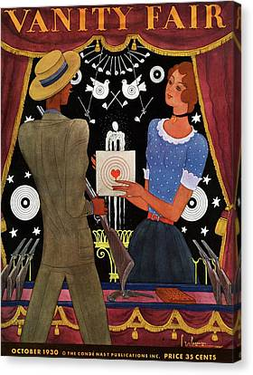 Vanity Fair Cover Featuring A Man And Woman Canvas Print by Georges Lepape