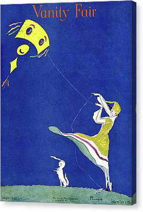 Vanity Fair Cover Featuring A Woman Flying A Kite Canvas Print by Ethel Plummer