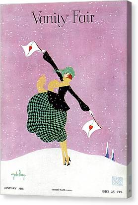 Snow Flag Canvas Print - Vanity Fair Cover Featuring A Woman Holding White by Gordon Conway