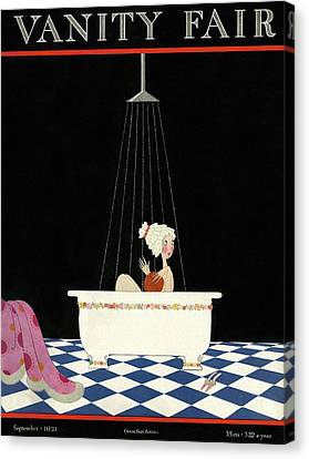 Shower Canvas Print - Vanity Fair Cover Featuring A Woman In A Bathtub by A. H. Fish