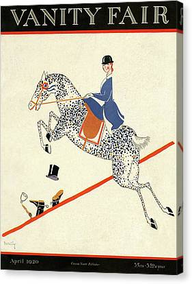 Reins Canvas Print - Vanity Fair Cover Featuring A Woman On A Horse by Aline Farrelly