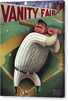 Baseball Canvas Print - Vanity Fair Cover Featuring Babe Ruth by Miguel Covarrubias