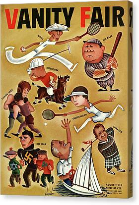 Boxing Sports Canvas Print - Vanity Fair Cover Featuring Caricatures by Constantin Alajalov