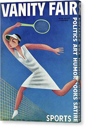 Tennis Shoe Canvas Print - Vanity Fair Cover Featuring Helen Wills Playing by Miguel Covarrubias