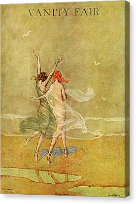 1918 Canvas Print - Vanity Fair Cover Featuring Two Nymphs by Warren Davis