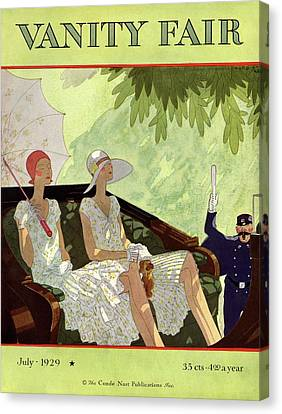 Protection Canvas Print - Vanity Fair Cover Featuring Two Women Sitting by Jean Pages