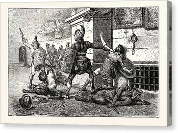 Vanquished Gladiator In The Arena Appealing To The People Canvas Print by English School