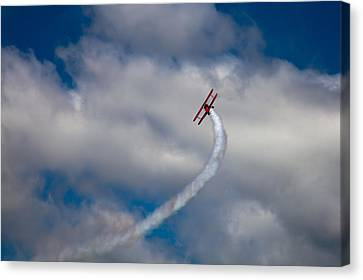 Vapor Trail At The Wings And Wheels Airshow Canvas Print by David Patterson