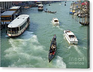 The Grand Place Canvas Print - Vaporettos In Venice by Sami Sarkis
