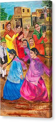Sikh Art Canvas Print - Vasakhi In A Punjab Village by Sarabjit Singh