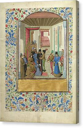 Vasco Da Lucena Giving His Work To Charles The Bold Master Canvas Print by Litz Collection