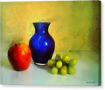 Vase And Fruits Canvas Print