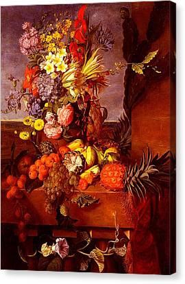 Canvas Print featuring the painting Vase De Fleurs Et Fruits Exotique - Bourbon - 1854 by Emilie Bourbon