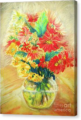 Canvas Print featuring the painting Vase by Jasna Dragun