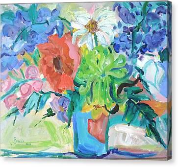 Vase Of Flowers Canvas Print by Brenda Ruark