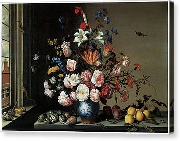 Vase Of Flowers By A Window Canvas Print by Balthasar Van Der Ast