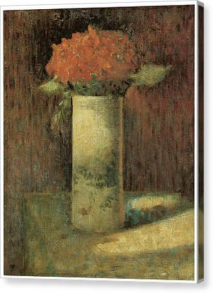 Vase Of Flowers Canvas Print by Georges Seurat
