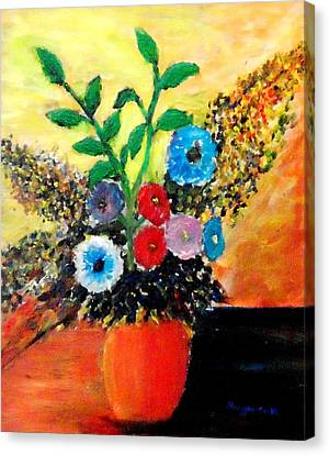 Vase Of Flowers Canvas Print by Mauro Beniamino Muggianu