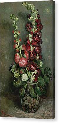 Vase Of Hollyhocks Canvas Print by Vincent van Gogh