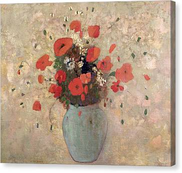 Vase Of Poppies Canvas Print by Odilon Redon
