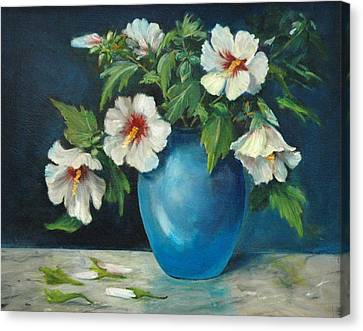 Vase Of Rose Of Sharons Canvas Print by Jolyn Kuhn
